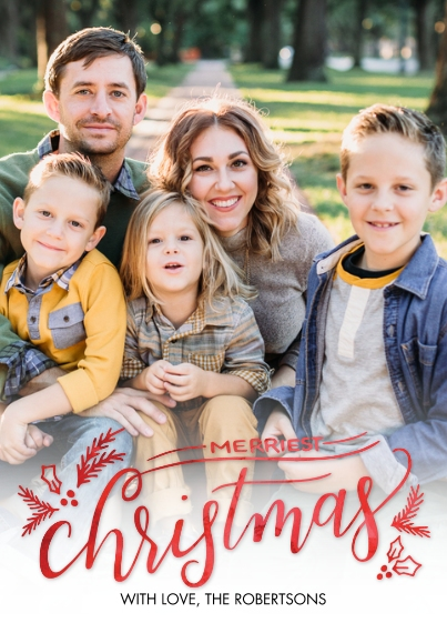 Christmas Photo Cards Flat Glossy Photo Paper Cards with Envelopes, 5x7, Card & Stationery -Christmas Merriest by Tumbalina