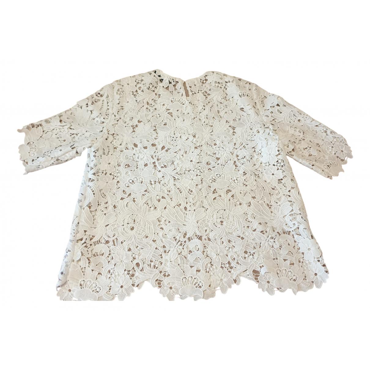 Zara - Top   pour femme en dentelle - blanc