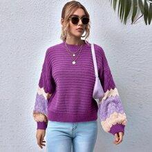 Pullover mit sehr tief angesetzter Schulterpartie, Farbblock und Laternenaermeln
