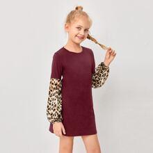 Vestido de manga farol de leopardo