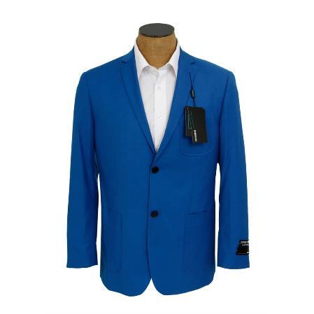 Mens Solid Royal Blue Sport Coat Jacket Blazer