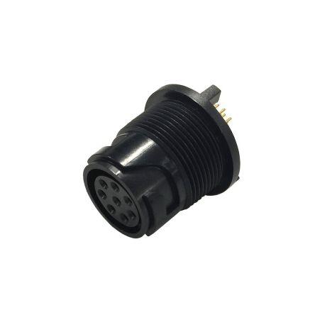 Bulgin Connector, 10 contacts Rear Mount Miniature Plug, Crimp, Solder IP66, IP68, IP69K (5)
