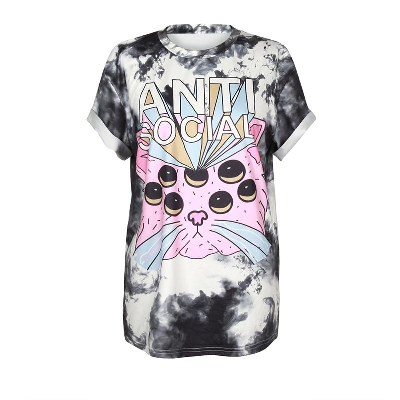 Cat Printed Gradient Colored White 3D T-Shirts