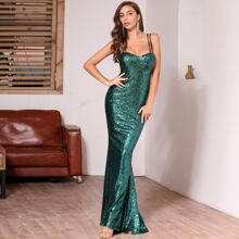 DKRX Lace Up Backless Sequin Cami Prom Dress