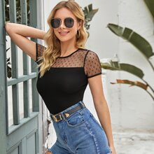 Sheer Dobby Mesh Yoke Form Fitted Tee