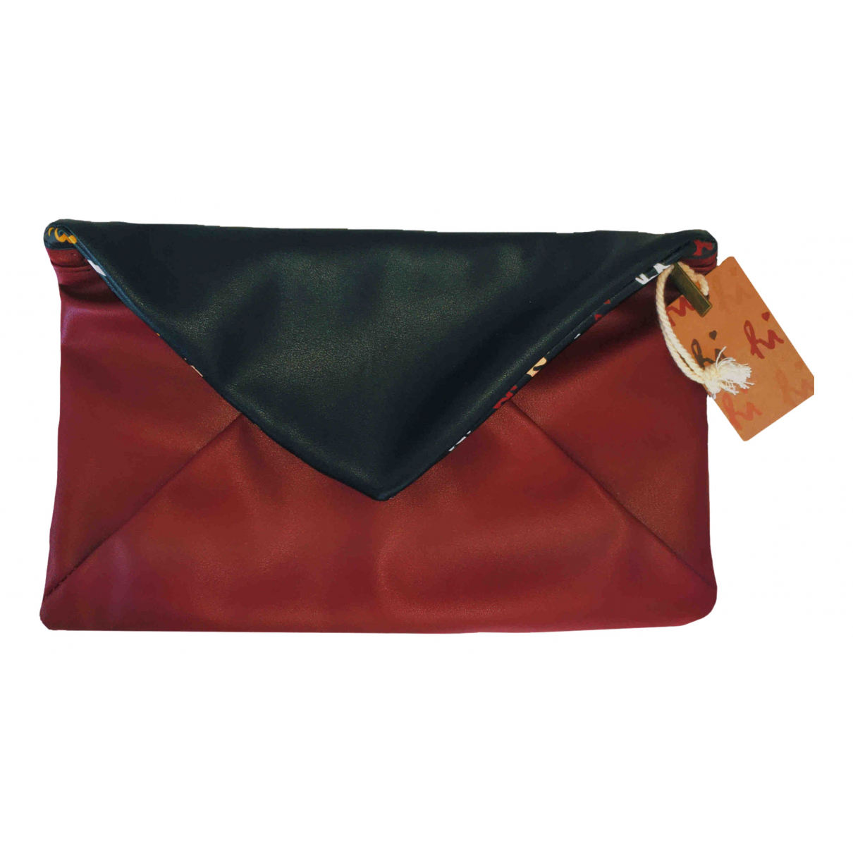 Non Signe / Unsigned \N Clutch in  Bordeauxrot Synthetik