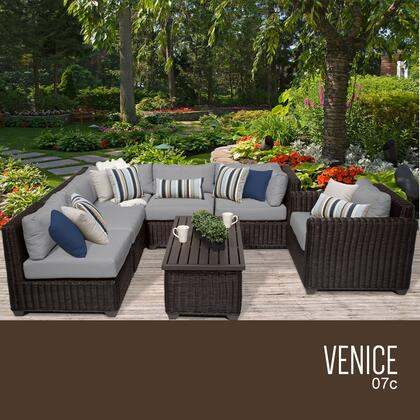 VENICE-07c-GREY Venice 7 Piece Outdoor Wicker Patio Furniture Set 07c with 2 Covers: Wheat and