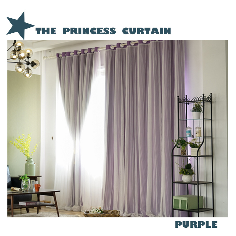 Decorative and Blackout Korean Style Solid Color Sheer and Lining Curtain Sets