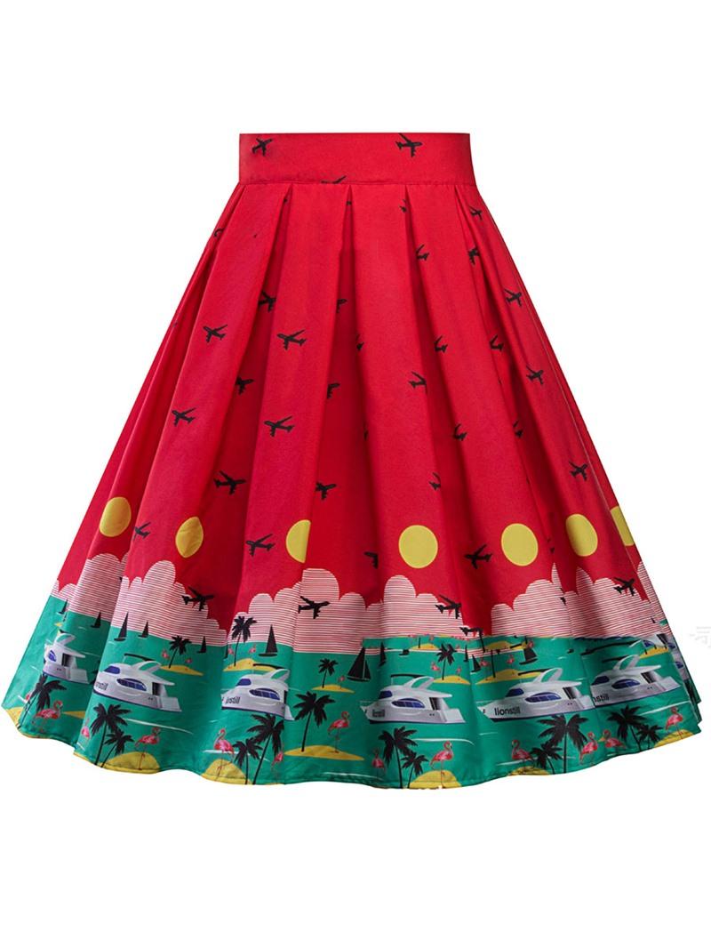Ericdress A-Line Knee-Length Pleated Women's Skirt