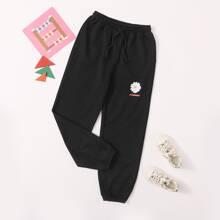 Pantalones de niñas con cordon con estampado de flor y letra
