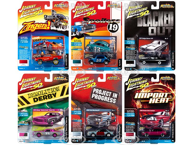 Street Freaks 2019 Release 3 Set B of 6 Cars 1/64 Diecast Models by Johnny Lightning