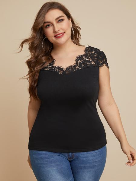 YOINS Plus Size Black Lace V-neck Short Sleeves Tank Top