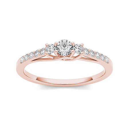 1/3 CT. T.W. Diamond 10K Rose Gold 3-Stone Engagement Ring, 8 1/2 , No Color Family