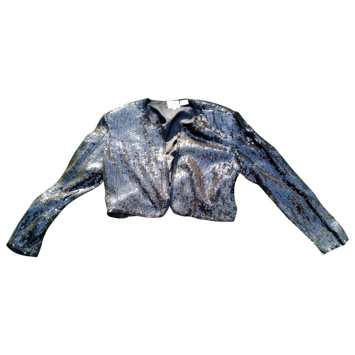 Non Signe / Unsigned Epaulettes Jacke in  Schwarz Seide