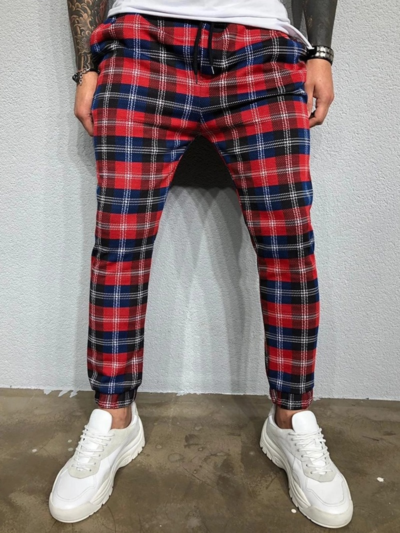 Ericdress Print Plaid Harem Fall Men's Casual Pants