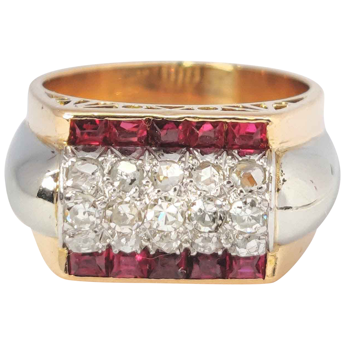 Non Signe / Unsigned Bagues Cocktails Ring in  Gold Rosegold