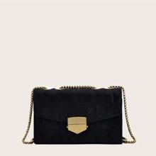 Stitch Detail Flap Crossbody Bag
