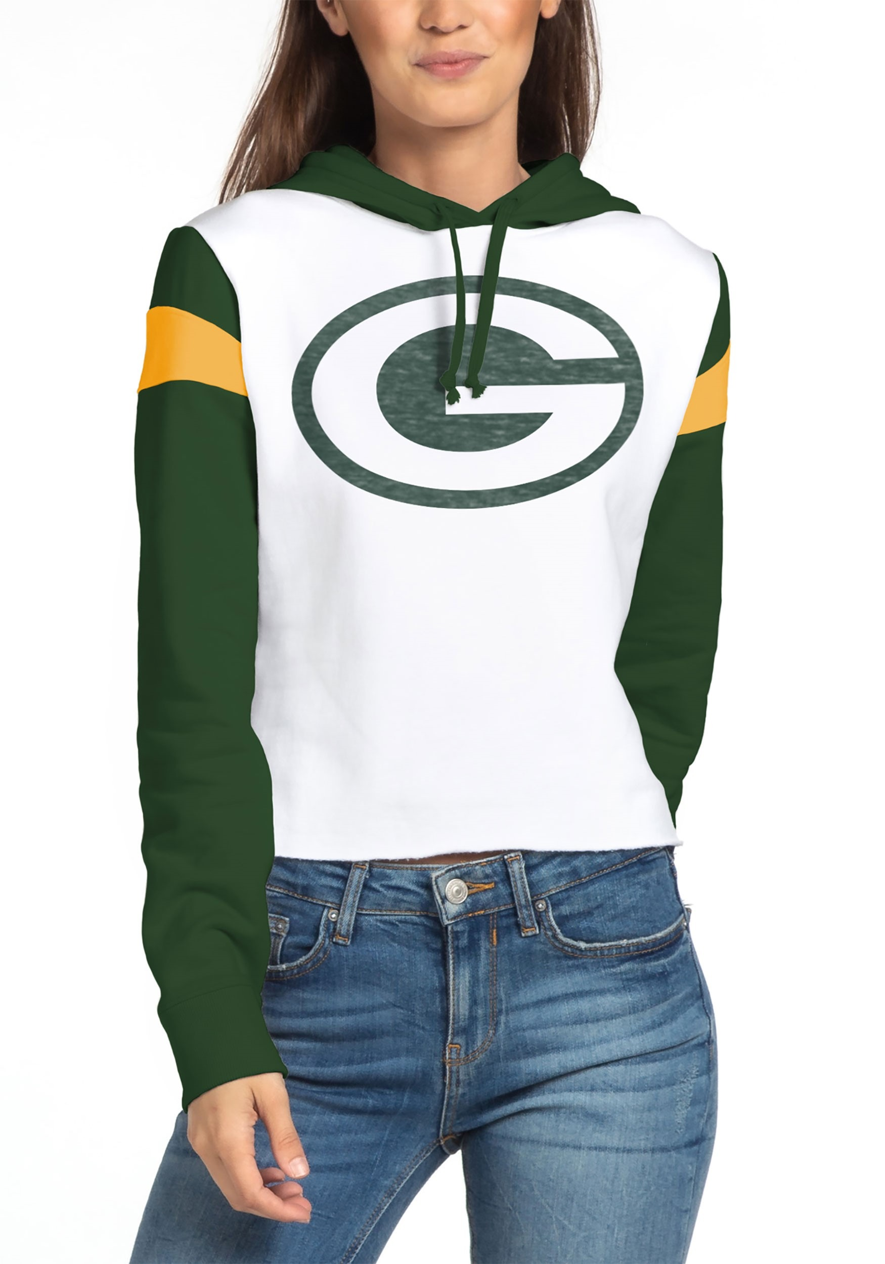 Fleece Womens Green Bay Packers Cropped Hoodie