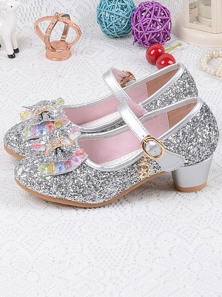 Milanoo Zapatos de niña de las flores Arcos de tela con lentejuelas plateados Zapatos de fiesta para niños Zapatos de Elsa en Frozen
