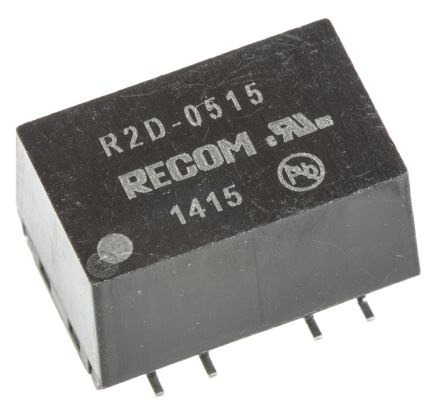 Recom R2D 2W Isolated DC-DC Converter Surface Mount, Voltage in 4.5 → 5.5 V dc, Voltage out ±15V dc