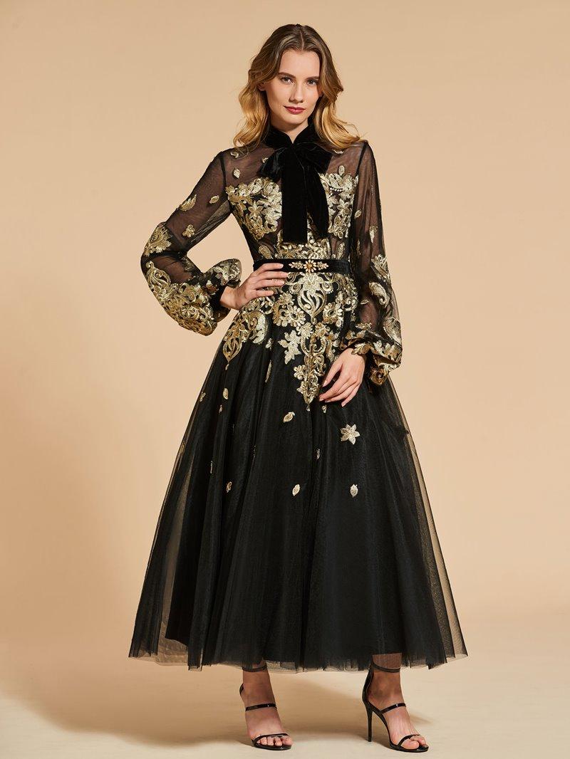 Ericdress Vintage High Neck Applique Tea Length Evening Dress