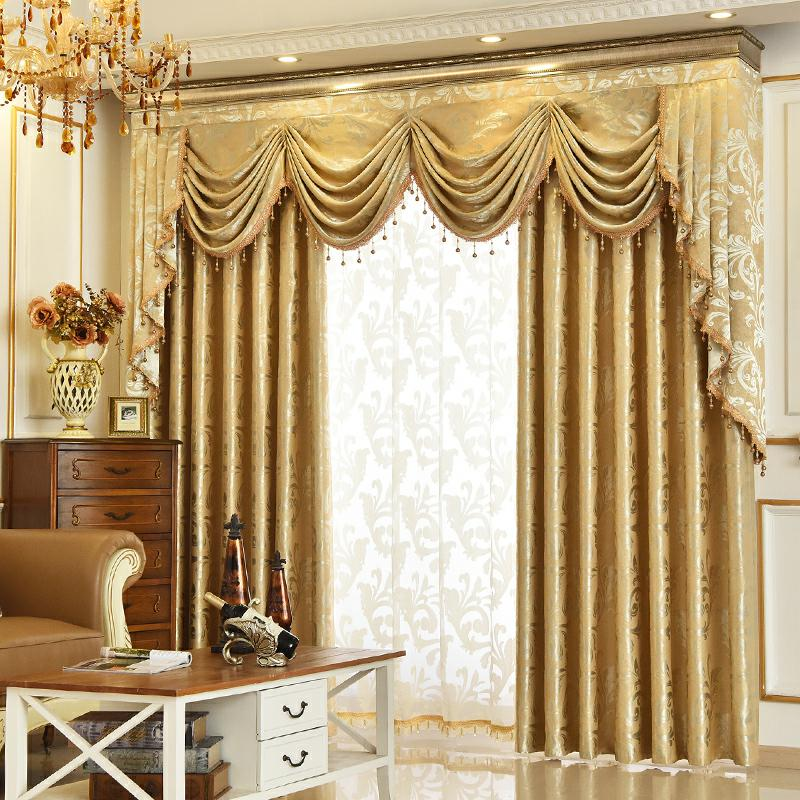 Pure Gold Simple Curtain Print Shading Cloth for Living Room