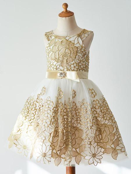 Milanoo Flower Girl Dresses Champagne Jewel Neck Sleeveless Sash Kids Party Dresses
