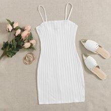 Strick einfarbiges figurbetontes Kleid