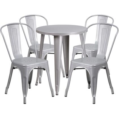 CH51080TH Collection CH-51080TH-4-18CAFE-SIL-GG 5 Piece Indoor-Outdoor Table Set with Bistro Stackable Chairs  Round Metal Cafe Table  Powder Coat