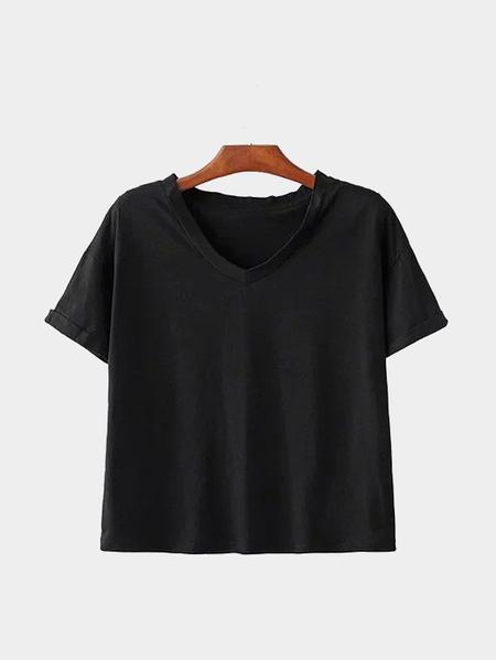 Yoins Plain Black V Neck T-shirts