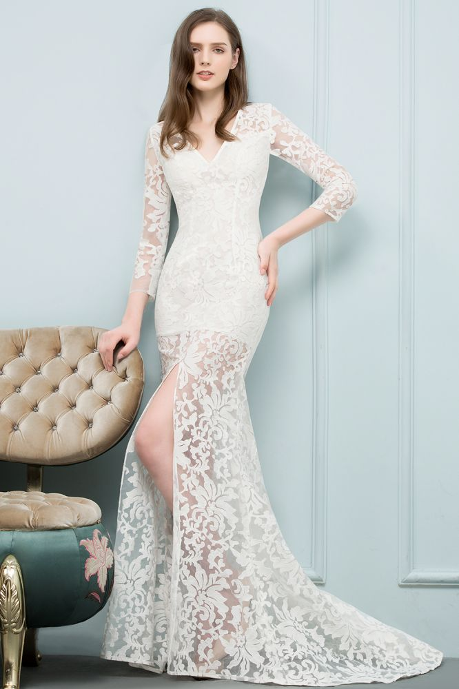 SILVER | Mermaid V-neck Floor Length Lace Prom Dresses with Sleeves