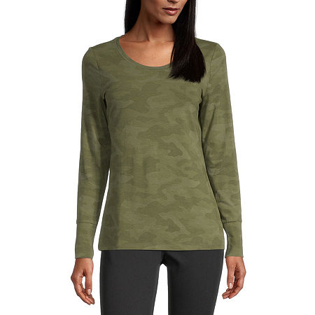 a.n.a-Womens Scoop Neck Long Sleeve T-Shirt, X-large , Green