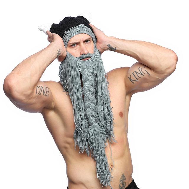 Men's Knit Hat Horn Cap Long Beard Wool Hat Santa Hat