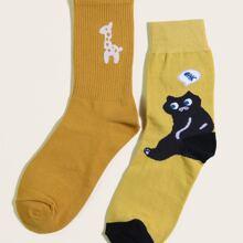 2pairs Cat Deer Crew Socks