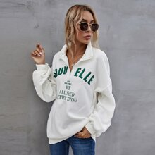 Slogan Graphic Oversized Thermal Lined Pullover