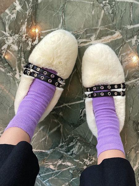 Milanoo Mocasines de piel sintetica de albaricoque con punta redonda y hebilla resbalon en los zapatos de invierno para las mujeres
