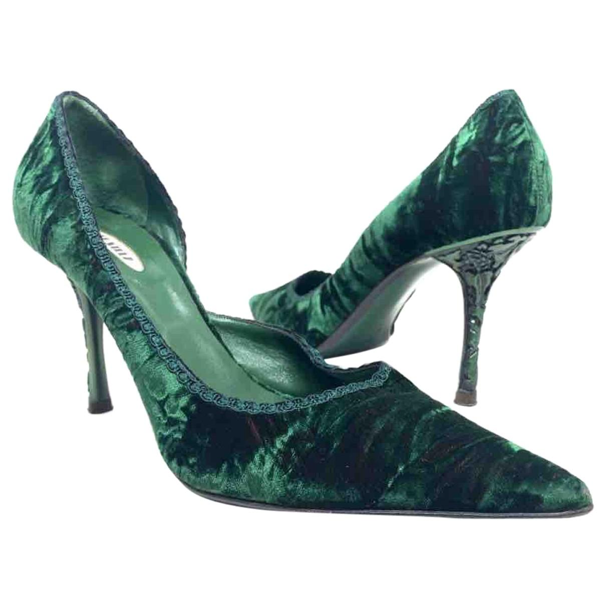 Le Silla - Escarpins   pour femme en suede - vert