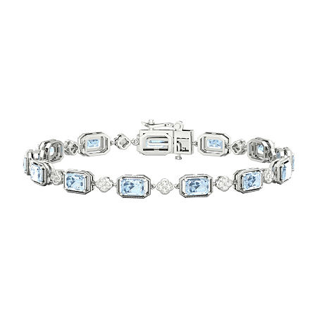 Diamond Accent Genuine Blue Aquamarine Sterling Silver 7 Inch Tennis Bracelet, One Size , No Color Family