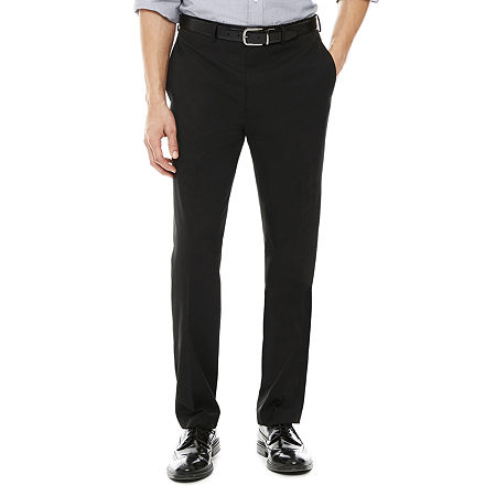 Collection by Michael Strahan Classic Fit Flat Front Twill Dress Pants, 44 32, Black