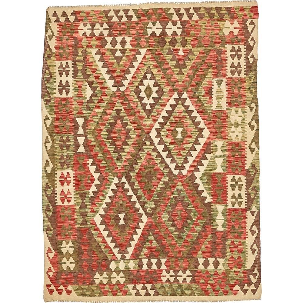 Hand Woven Kilim Maymana Wool Area Rug - 4' 4 x 6' 5 (Olive - 4' 4 x 6' 5)