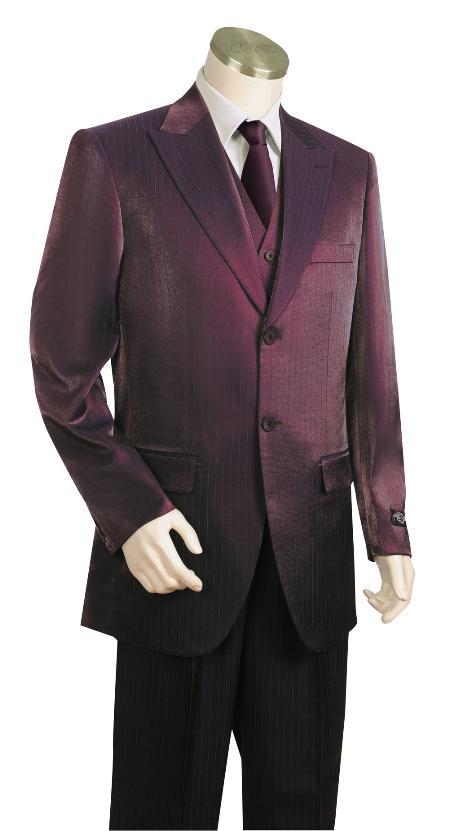 3 Piece 2 Button Wine Vested Zoot Suit Mens