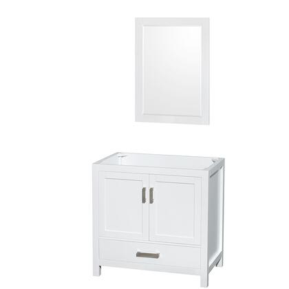 WCS141436SWHCXSXXM24 36 in. Single Bathroom Vanity in White  No Countertop  No Sink  and 24 in.