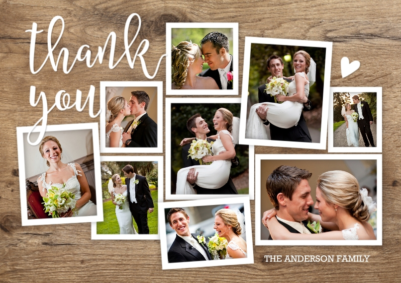 Wedding Thank You Flat Glossy Photo Paper Cards with Envelopes, 5x7, Card & Stationery -Thank You Rustic Collage