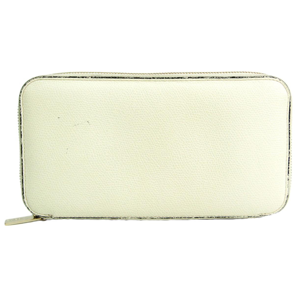 Valextra - Portefeuille   pour femme en cuir - ecru