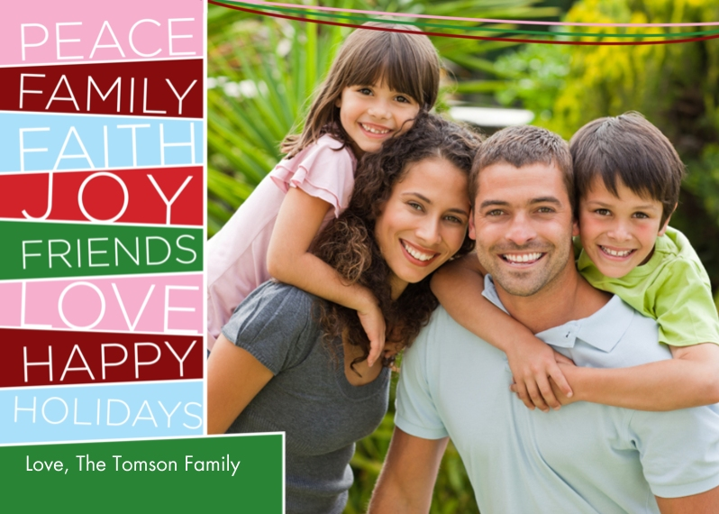 Holiday Photo Cards Flat Glossy Photo Paper Cards with Envelopes, 5x7, Card & Stationery -Holiday Word Blocks