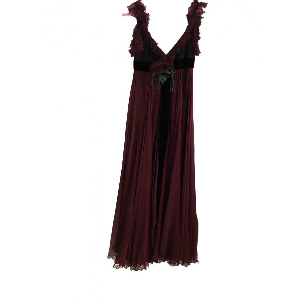Elie Saab - Robe   pour femme en soie - bordeaux