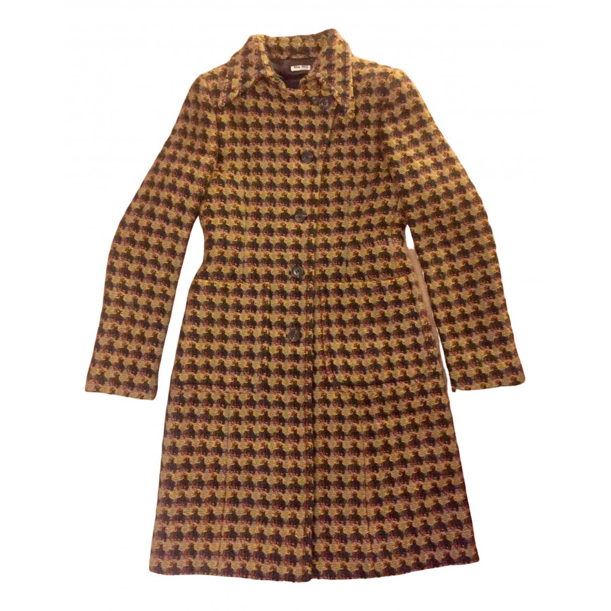 Miu Miu N Yellow Wool coat for Women 40 IT