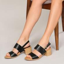 Open Toe Double Band Slingback Block Heel Sandals