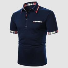 Guys Contrast Plaid Polo Shirt