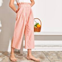 Pantalones recortados de rayas de pierna ancha de cintura con fruncido